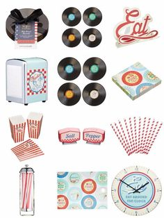 Retro American Diner Theme Choose From Vinyl Record Costers Placemats Dispenser   eBay
