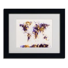 Michael Tompsett 'Paint Splashes World Map 4' Framed Matted Art (11 x 14 (medium))