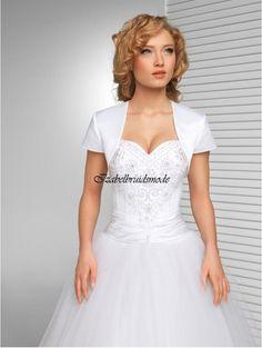 Bruidsbolero satijn met korte mouwen