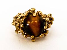 Excited to share the latest addition to my #etsy shop: Vintage Tiger Eye Ring, 18 kt HGE Natural Amethyst Size 7 UNCAS Signed http://etsy.me/2CYU32L #jewelry #ring #purple #gold #women #silver #amethyst #oval #brutalist