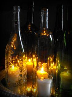 wine bottle hurricane candle lanterns beautiful romantic ...