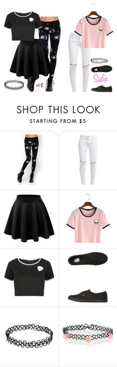 """""""My Style Vs. Sadie's: Alien crop-top and a choker"""" by lifesucks-musichelps ❤ liked on Polyvore featuring Motel, FiveUnits, LE3NO, WithChic, Vans and Accessorize"""