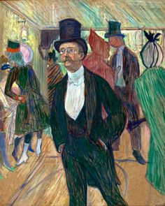 Monsieur Henri Fourcade at the Opera Ball. Toulouse-Lautrec. 1889. Oil on cardboard.  77 x 62 cm. Museu de Arte. São Paulo.