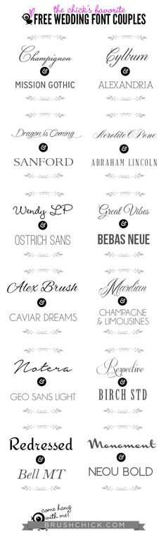 Free Wedding Font Couples (21 free fonts w/ easy download links)