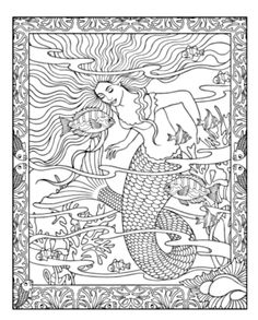 Mythical Mermaids Coloring Book dover | Patterns , Motifs ...