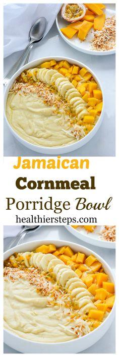 Jamaican Cornmeal Porridge Bowl Yummy and creamy cornmeal/polenta porridge is vegan and gluten-free.