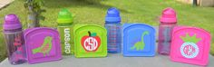 Back to School Monogram Sandwich Water Bottle and by Tootlebugs, $15.00