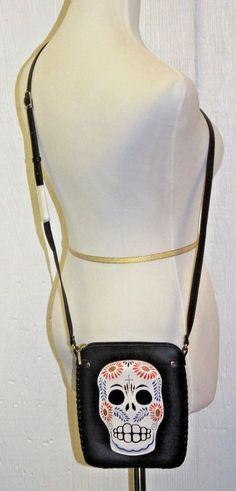 SUGAR SKULL Crossbody Purse Hand-tooled Leather + SHY SKULL Bracelet w/ DIAMOND  #Unbranded #MessengerCrossBody