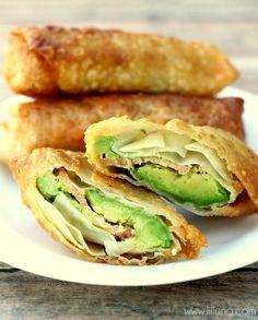 Avocado Bacon Egg Rolls - yes please! { lilluna.com } #eggrolls