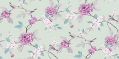Lara Mint (414500) - Arthouse Wallpapers - A pretty, delicate floral trail with soft amethyst flowers, and birds on a delicate mint green background. Please request sample for true colour match. $28