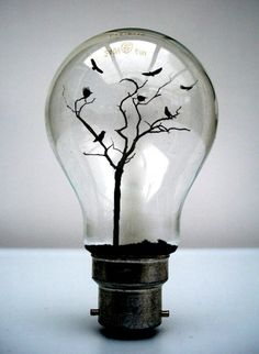 bird tree in a light bulb: organic and industrial, metal and wood and glass and birds