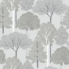 Ellwood Trees Grey & Silver Wallpaper