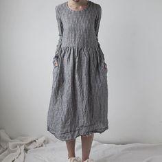 Agnès dress in grey stripe linen #Ovate www.ovate.ca