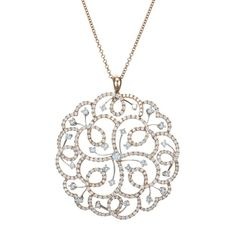 Tara Diamonds 18K Rose Gold Diamond Vine Floral Pendant Necklace (=)