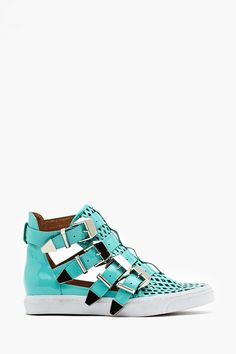 Indie Hi Buckled Sneaker by #JeffreyCampbell..kind of really want these