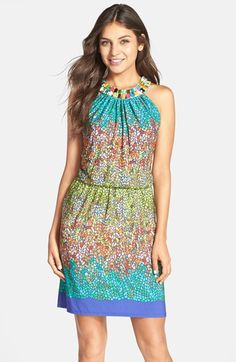 Maggy London 'Rainbow Glass' Print Jersey Blouson Dress available at #Nordstrom
