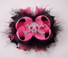 Hot Pink and Black Rocker Skull Bow Fuffy Boutique Bow with Skull Rhinestone Center. $8.99, via Etsy.
