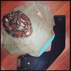 Scarf,Sweater and RR Jeans