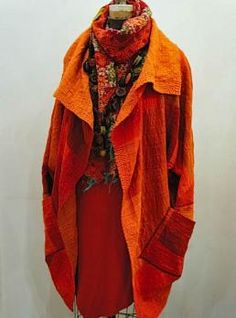 Mieko Mintz - must look for some orange boiled wool and make a jacket like this soon!