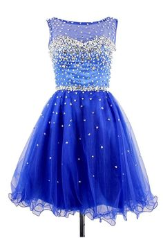Elegant Crystal Royal Blue Short Cocktail Dress Sparkly Organza Beadings Mini Homecoming Dresses