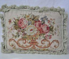 "15"" x 19"" Handmade Roses Wool Needlepoint Decorative Pillow Case Cushion Cover | eBay"