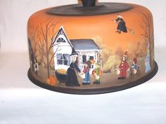 HALLOWEEN CAKE COVER WITCH COSTUMES TRICK OR TREAT PRIMITIVE FOLK ART RJPE #NaivePrimitive #RaggedyJan
