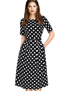 """VfEmage Womens Vintage Summer Polka Dot Wear To Work Casual A-line Dress 2127 Black S. Our size is one size smaller than that of the US local brands like """"Nordstrom"""". To prevent the size issue, please refer to our detail size information (bust/waist/hip size) below the product description before order.Manual measurement may exist 1-2cm difference. Thanks!. Material: 95%Polyester+5%Spandex. Garment Care:Machine Washable Wash in cold water only. """"VfEmage"""" Trademark is registered on…"""