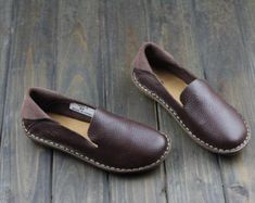 Handmade Brown Color Shoes for Women,Oxford Shoes, Flat Shoes, Retro Leather Shoes, Casual Shoes, Spring/Autumn Shoes