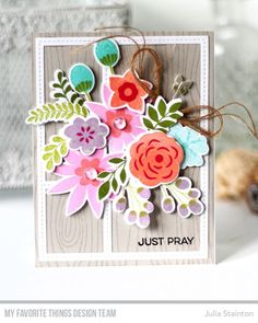 MFT Die-namics with Stamp Sets In Bloom Stamp Set and Die-namics, Whimsical Woodgrain Background, Stitched Collage Frame Die-namics - Julia Stainton  #mftstamps