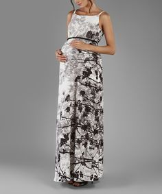 Look at this Elpasa Black & Gray Floral Iris Maternity Dress on #zulily today!
