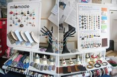 using step stools or cabinet things from ikea and the card stock cones is a cute idea for jewelry