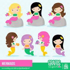 MERMAIDS Digital Clipart Set Imagenes de Sirenas Sirenas