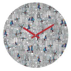 Sharon Turner Birds And Rockets Round Clock | DENY Designs Home Accessories #deny #denydesigns #sharonturner #birds #space #rockets #cosmic #illustration #kids #fun