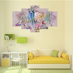 5pcs Fashion Princess Unframed Canvas Print Home Decor Wall Art Picture Poster Set -- BuyinCoins.com