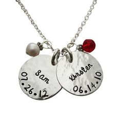 Mother's Jewelry - Hammered Name & Birthdate Necklace