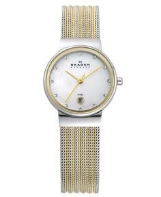 Skagen Watch, Women's Two Tone Mesh Stainless Steel Bracelet 26mm 355SSGS