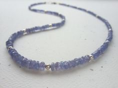 Faceted Genuine Tanzanite Beaded Necklace With by OldeTowneJewelry, $120.00