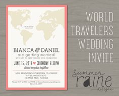 World Travelers Wedding Invite - Printable, digital, print-it-yourself on Etsy, £11.11