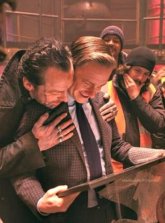 Martin and Simon Pegg with Martin's wrap gift for The World's End