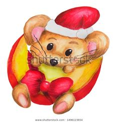 Стоковая иллюстрация «Cute Handdrawn Watercolor Little Mouse Cheese Pikachu, How To Draw Hands, Teddy Bear, Watercolor, Illustration, Cute, Fictional Characters, Animals, Image