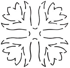 Quilt Stencil Springtime Tulips By Walner, Hari  - 6in Springtime Tulips Block continuous line stencil. Stencil is made of Mylar plastic with the displayed design cut into it.