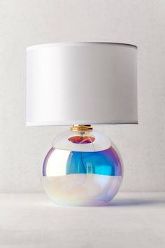 Shop Iridescent Globe Table Lamp at Urban Outfitters today. Cool Lamps, Unique Lamps, Diy Lamps, Interior Exterior, Home Interior, Urban Outfitters, Woven Shades, Table Lamps For Bedroom, Bedroom Desk