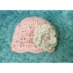 Soft pink shell hat with off white flower / Photo prop by Marlo n me