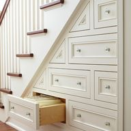 If we do end up with stairs, we need to take advantage of the space beneath them with storage. This style won't work, but the idea does.