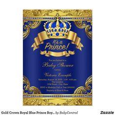 Gold Crown Royal Blue Prince Boy Baby Shower Card