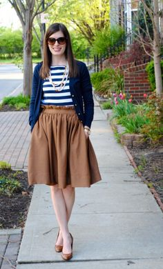 #Brown paper  bag skirt, navy and white stripes  #Fashion #New #Nice #Skirt #Beauty  www.2dayslook.com