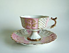 Vintage Tea Cup and Saucer Lusterware Teacup by treasurecoveally