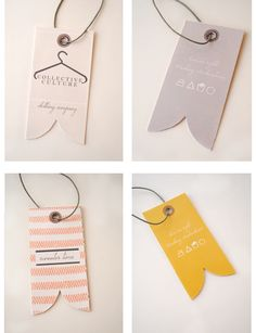 hang tag for different products - pants, buttons ups, skirts etc… maybe in the shape of the thing with logo on?