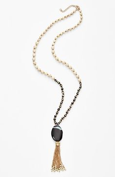 Panacea Black & White Stone Tassel Necklace available at #Nordstrom