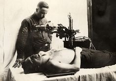 Typical X-Ray Machine with Patient and Technician. The first military use of x-rays was in 1896, in the war between Italy and Abyssinia. This photo is WWII.